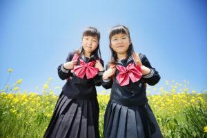 入学記念写真 菜の花ロケ
